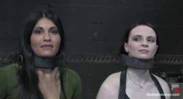 Три рабыни с радостью переносят приятную боль