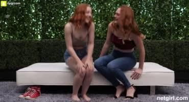 Рыженькие подружки развлекаются во дворе с соседом