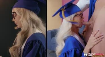 Студентка после вручения диплома поехала к декану на еблю