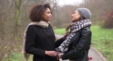Красивая негритянка занимаются нежным сексом с подругой