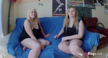 Две жопастые толстухи порятся на кастинге с молоденьким членом